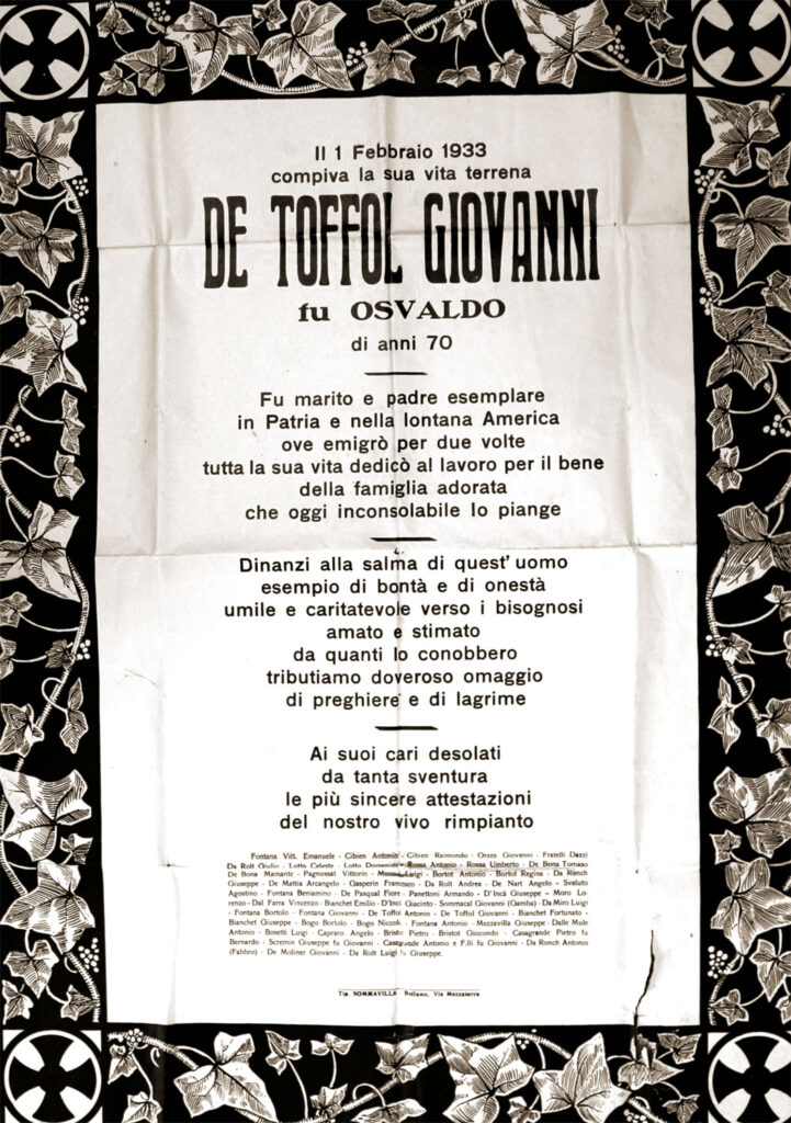 L'epigrafe che annunciò la morte del nonno di Teresa d'Incà