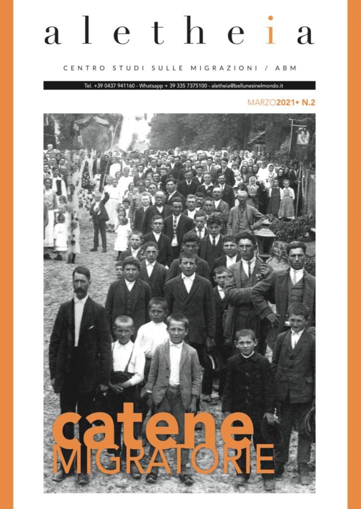 """La copertina del numero di 2 di marzo 2021 della rivista del Centro Studi sulle Migrazioni """"Aletheia"""""""