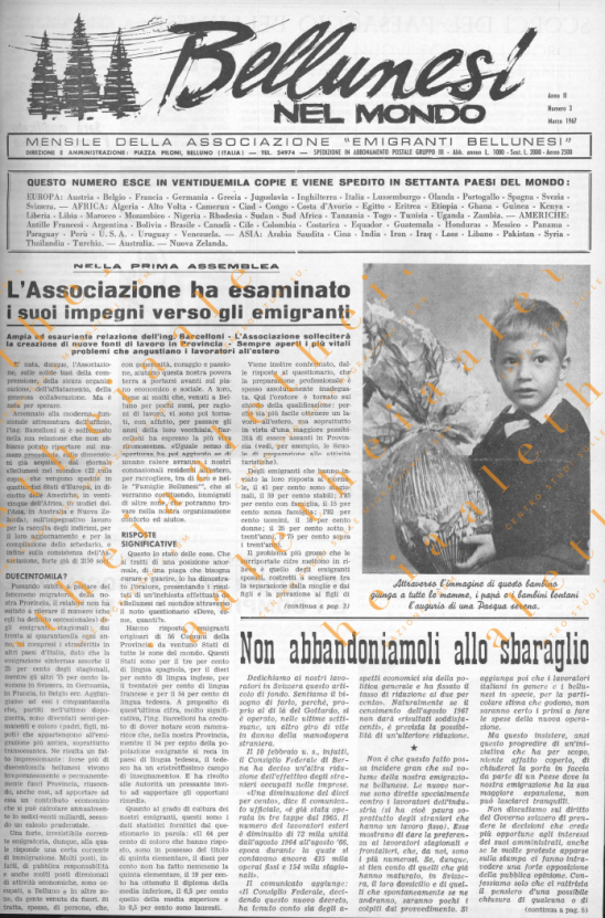 Bellunesi nel mondo n. 3 - marzo 1967