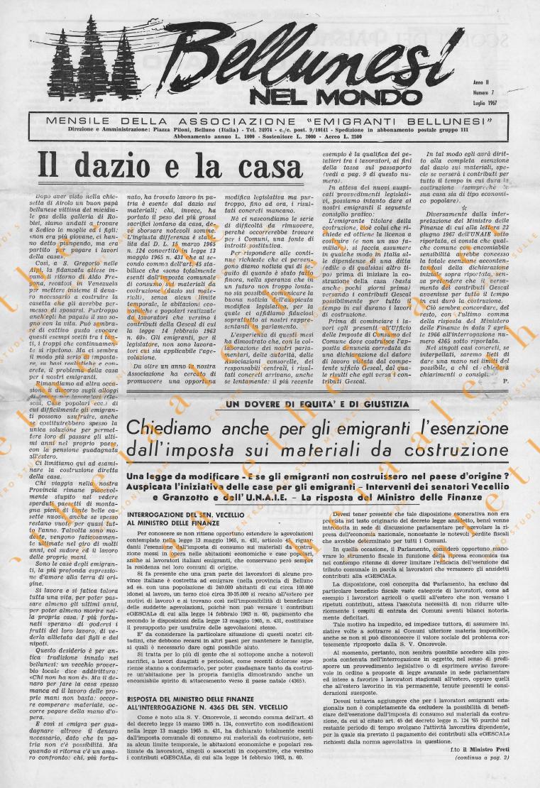 Bellunesi nel mondo n. 7 luglio 1967