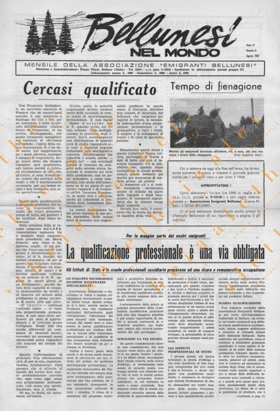 Bellunesi nel mondo n. 8 agosto 1967