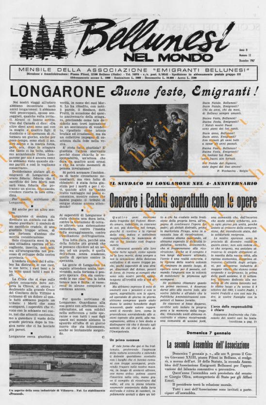 Bellunesi nel mondo n. 12 dicembre 1967