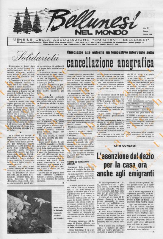Bellunesi nel mondo n. 2 febbraio 1968