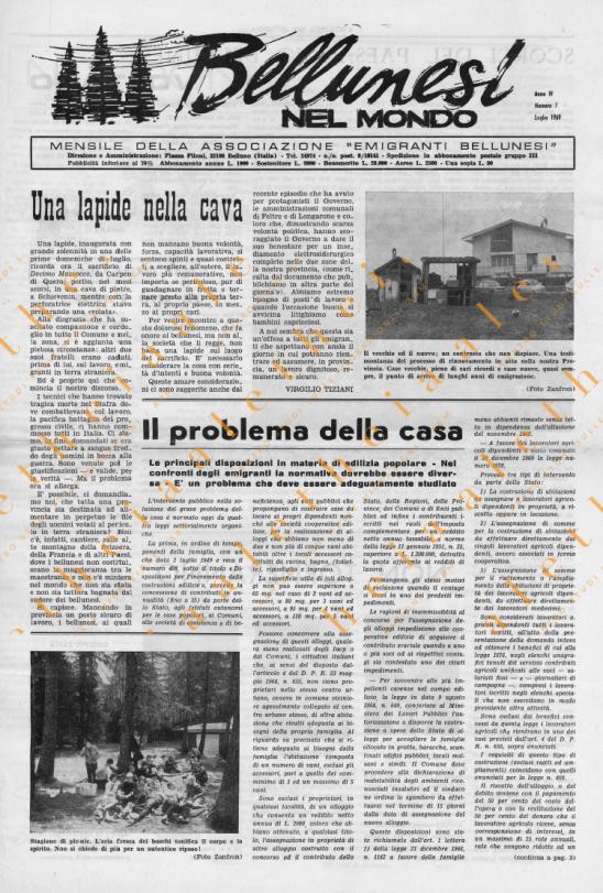 Bellunesi nel mondo n. 7 luglio 1968