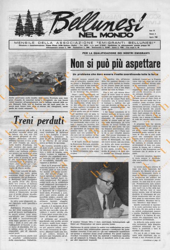 Bellunesi nel mondo n. 8 agosto 1968