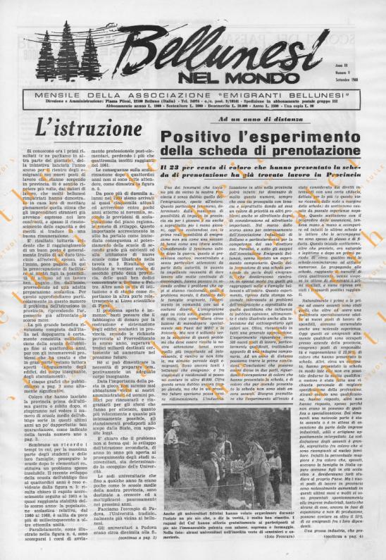 Bellunesi nel mondo n. 9 settembre 1968