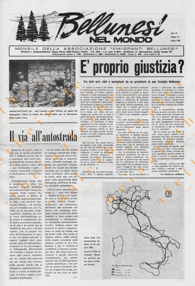 Bellunesi nel mondo n. 10 ottobre 1968