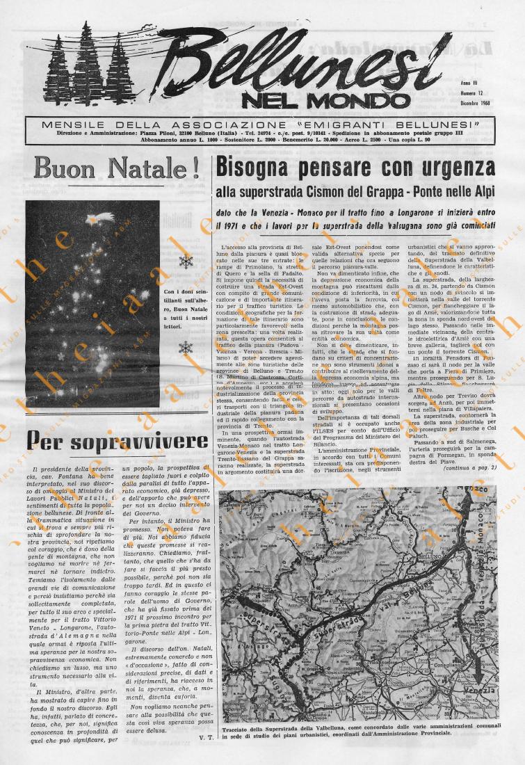 Bellunesi nel mondo n. 12 dicembre 1968