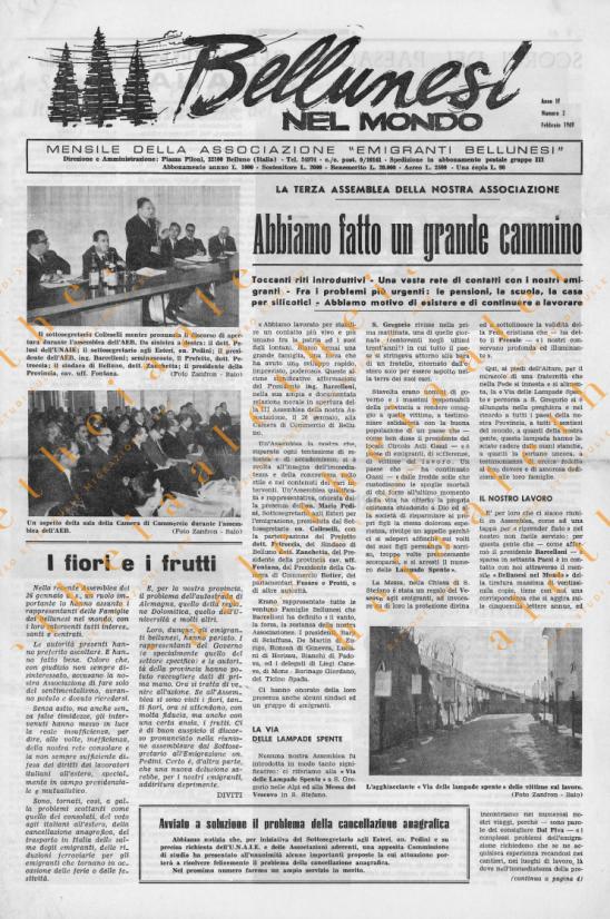 Bellunesi nel mondo n 2 - febbraio 1969