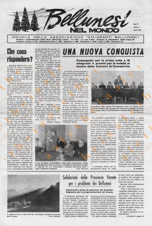 Bellunesi nel mondo n. 8 agosto 1969
