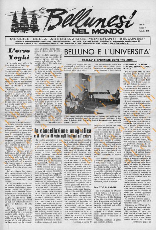 Bellunesi nel mondo n. 9 settembre 1969