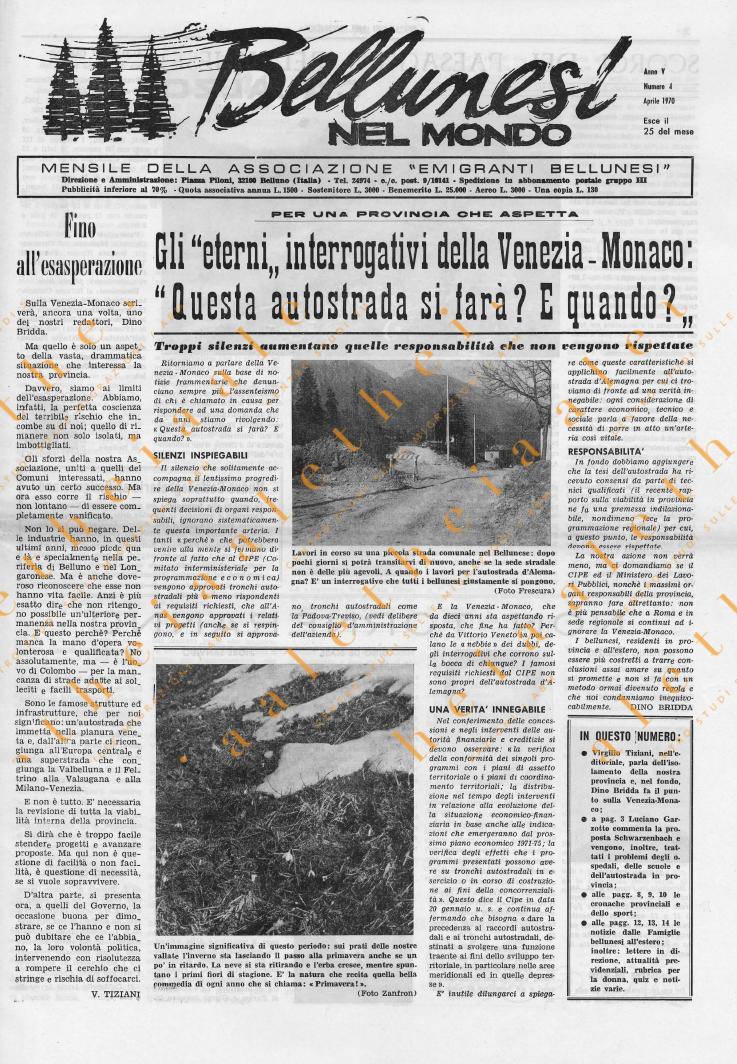 Bellunesi nel mondo n 4 aprile 1970
