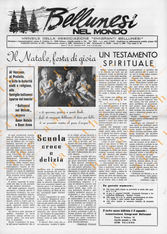 Bellunesi nel mondo n. 12 dicembre 1970