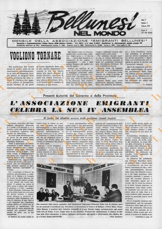 Bellunesi nel mondo n. 2 febbraio 1970