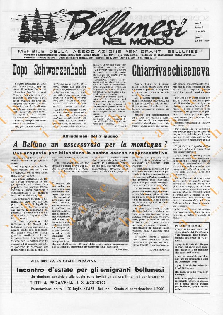 Bellunesi nel mondo n. 6 giugno 1970