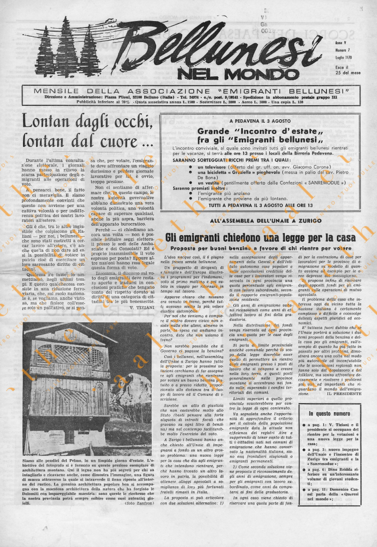Bellunesi nel mondo n 7 luglio 1970