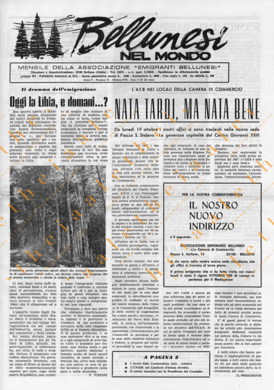Bellunesi nel mondo n. 10 ottobre 1970