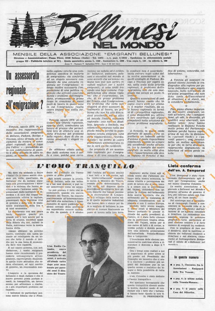 Bellunesi nel mondo n. 9 settembre 1970