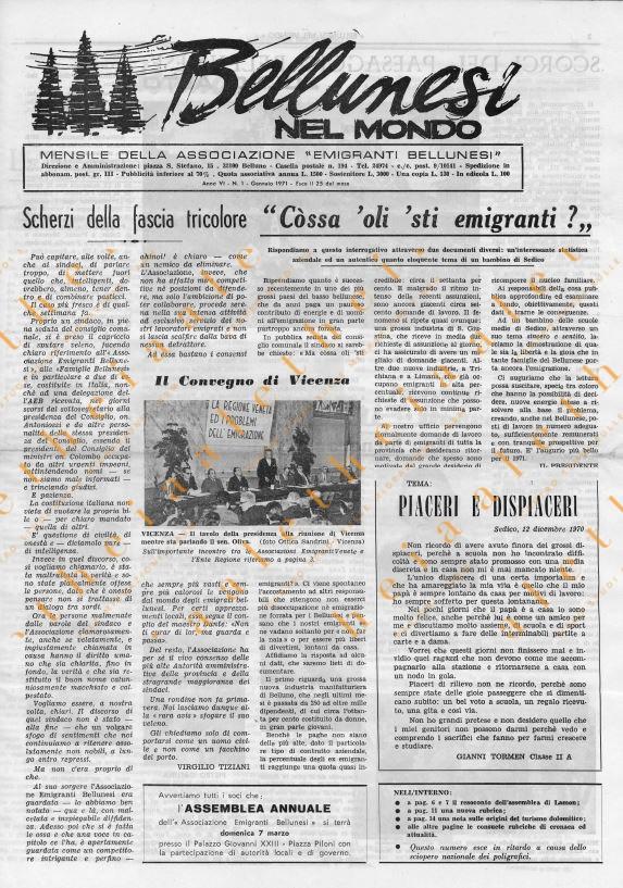 Bellunesi nel mondo gennaio 1971