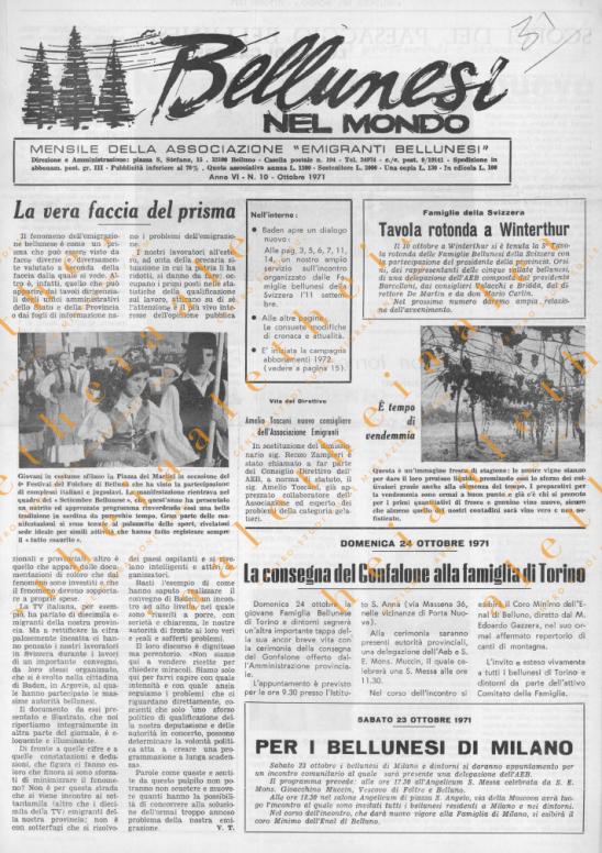 Bellunesi nel mondo n. 10 ottobre 1971