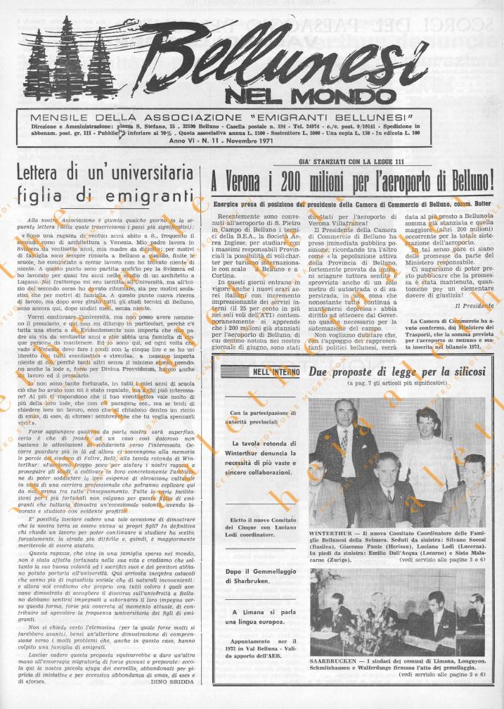 Bellunesi nel mondo n. 11 novembre 1971