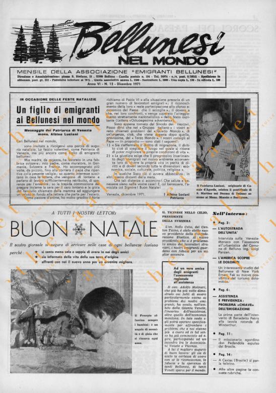 Bellunesi nel mondo n. 12 dicembre 1971
