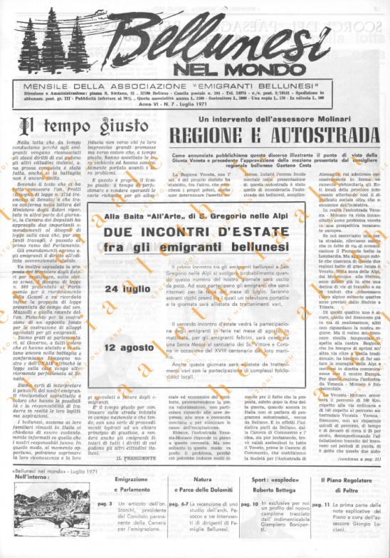 Bellunesi nel mondo n. 7 luglio 1971