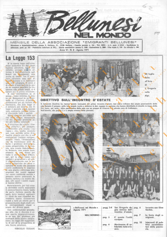 Bellunesi nel mondo n. 8 agosto 1971