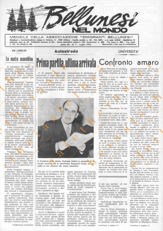 Bellunesi nel mondo n. 7 luglio 1972