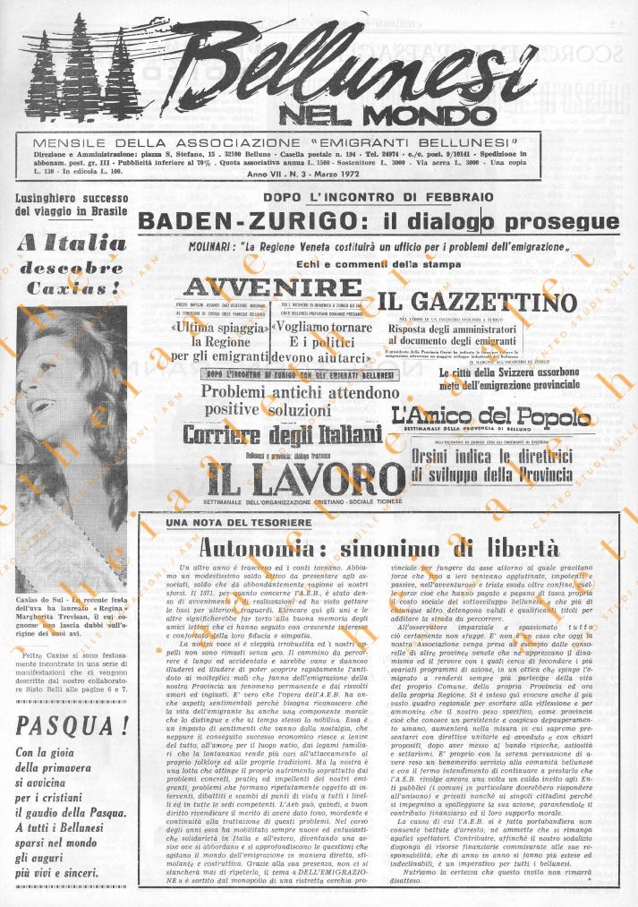 Bellunesi nel mondo n. 3 marzo 1972