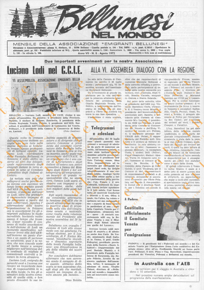Bellunesi nel mondo n. 8 - agosto 1972