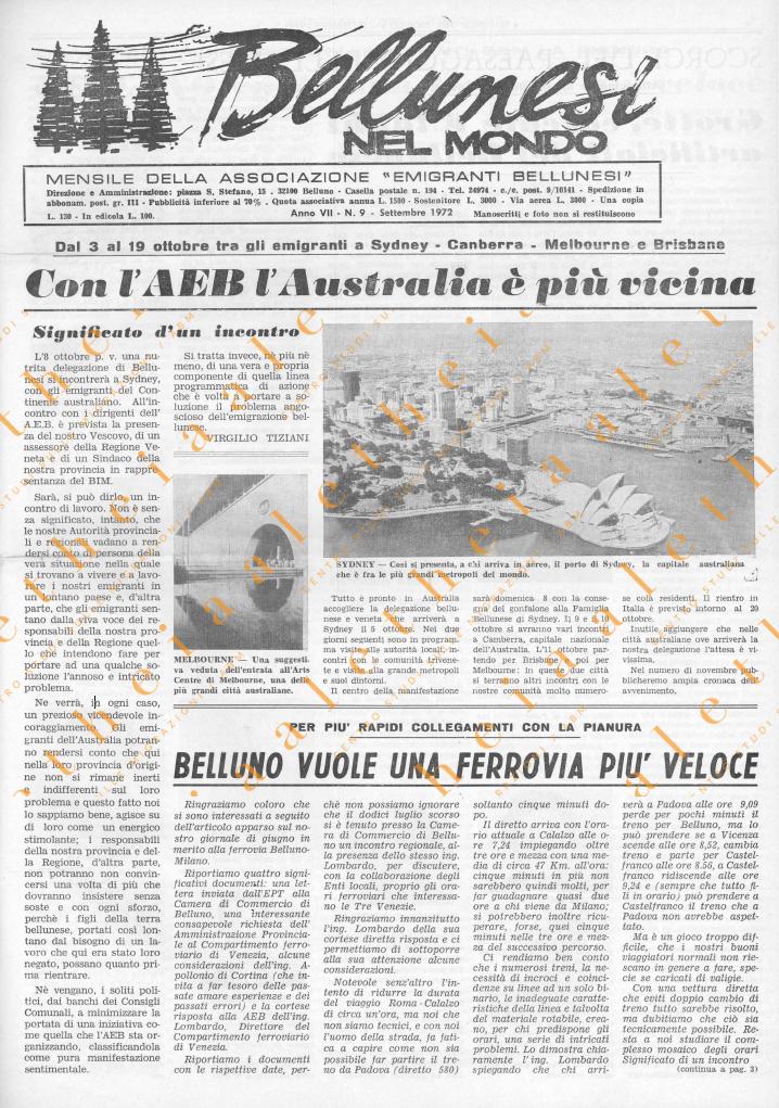 Bellunesi nel mondo n 9 settembre 1972