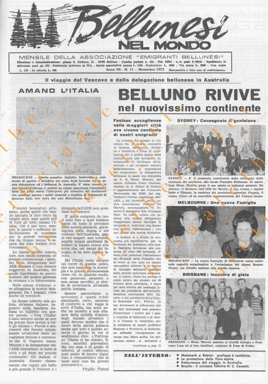 Bellunesi nel mondo n. 11 novembre 1972
