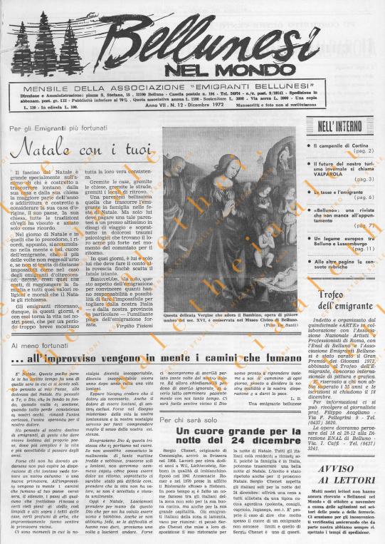 Bellunesi nel mondo n. 12 dicembre 1972