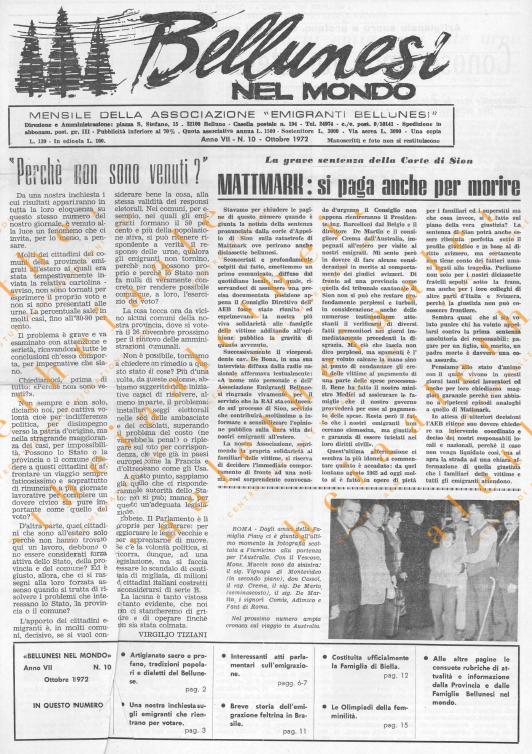 Bellunesi nel mondo n. 10 ottobre 1972