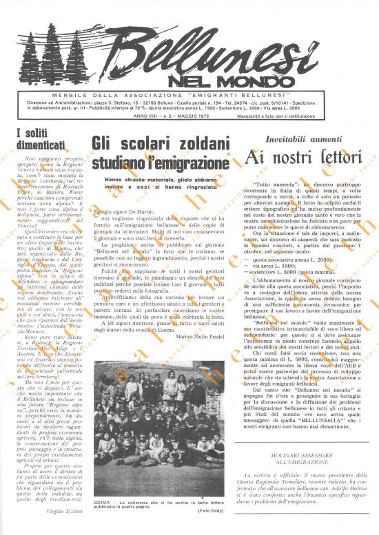 Bellunesi nel mondo n. 5 maggio 1973