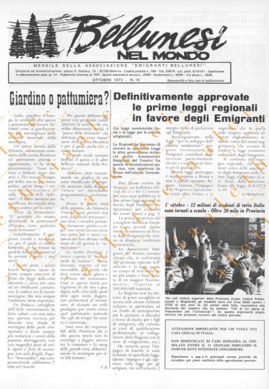Bellunesi nel mondo n. 10 ottobre 1973