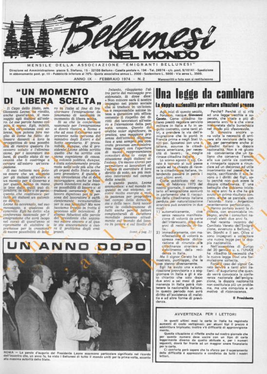 Bellunesi nel mondo n. 02 - febbraio 1974