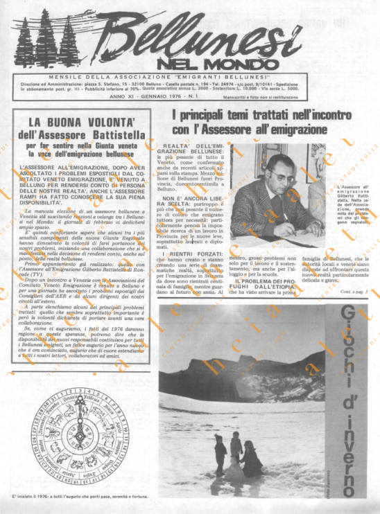 Bellunesi nel mondo n. 1 - gennaio 1976