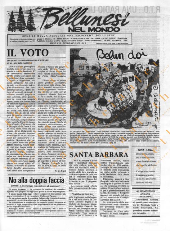 Bellunesi nel mondo n. 2 - febbraio 1978