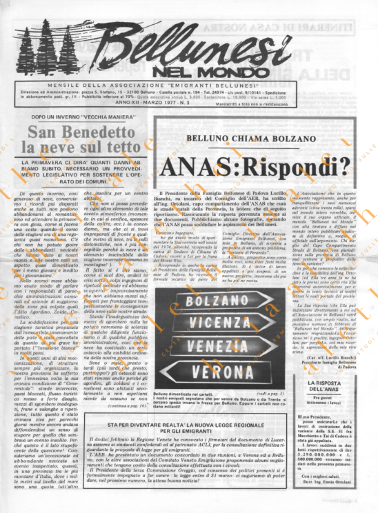 Bellunesi nel mondo n. 3 - marzo 1977