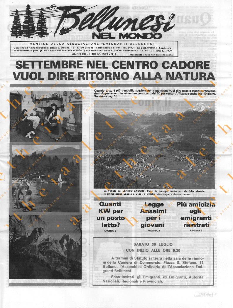 Bellunesi nel mondo n. 7 - luglio 1977