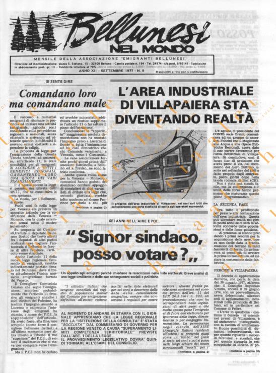 Bellunesi nel mondo n. 9 - settembre 1977