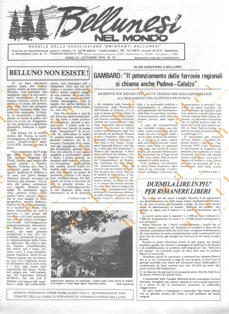 Bellunesi nel mondo n. 10 - ottobre 1976