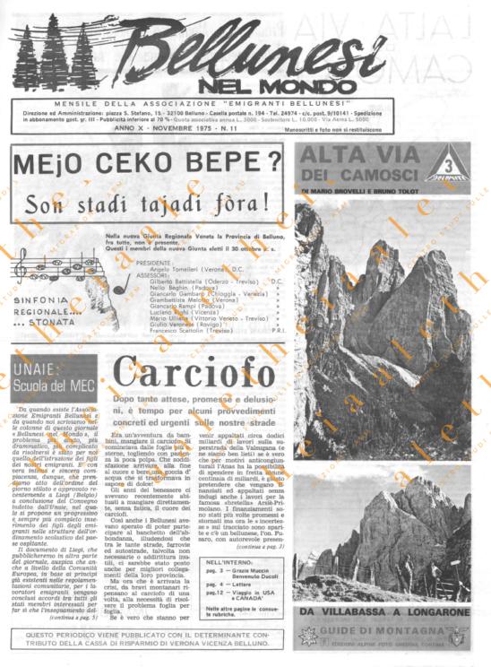 Bellunesi nel mondo n. 11 - novembre 1975