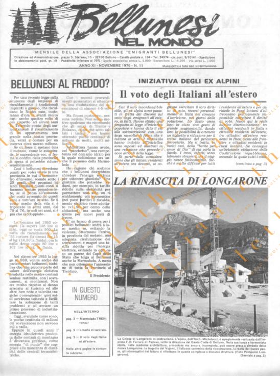 Bellunesi nel mondo n. 11- novembre 1976