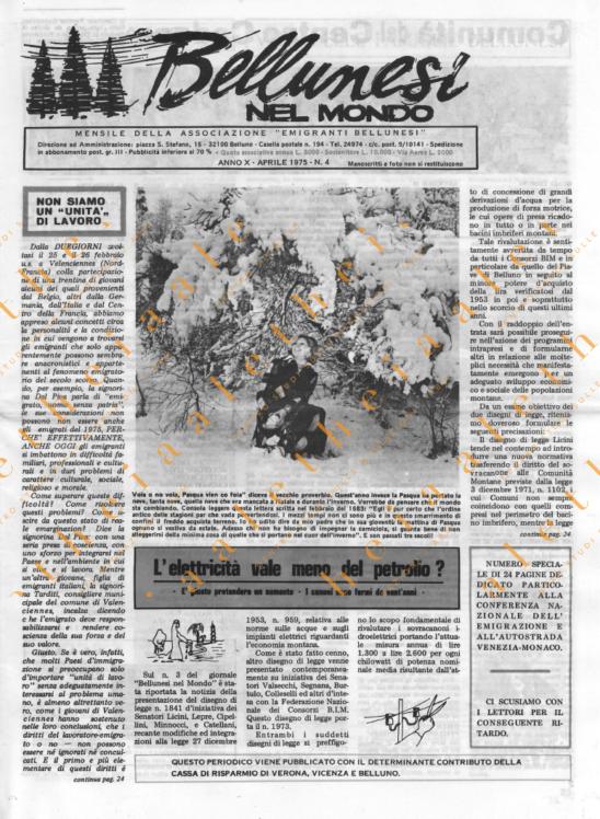 Bellunesi nel mondo n. 4 - anno 1975