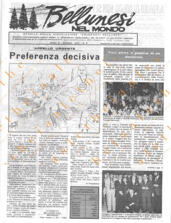 Bellunesi nel mondo n. 6 - giugno 1975