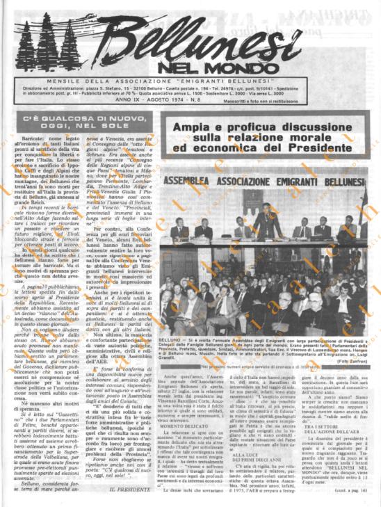 Bellunesi nel mondo n. 8 - agosto 1974