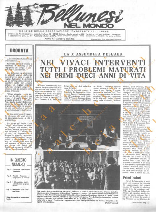 Bellunesi nel mondo n. 8 - agosto 1976